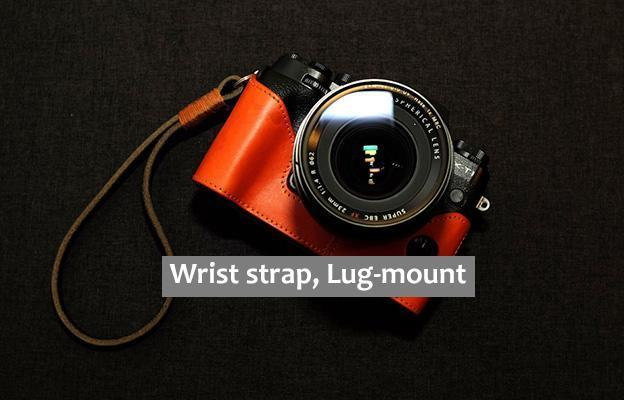 Dark Brown and orange Leather camera Wrist strap, Lug-mount