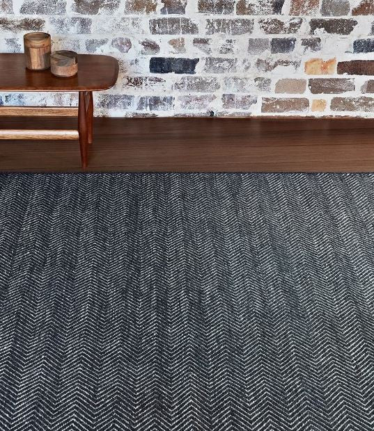 Armadillo&Co Herringbone Wool Weave Rug Charcoal and Limestone