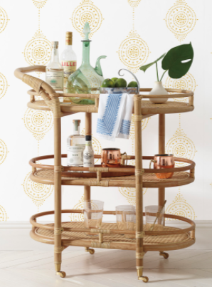 Monaco Drinks Trolley - rattan
