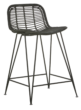 Rattan Bar Stool - Black