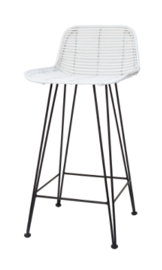 Rattan Bar Stool White