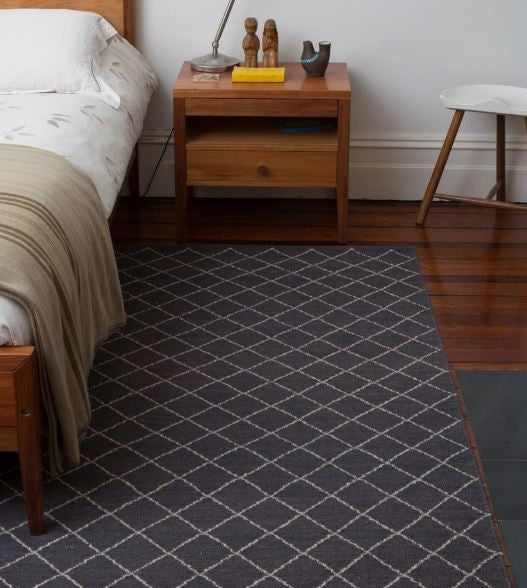 Armadillo&Co Twine Wool Weave Charcoal and Limestone Rug