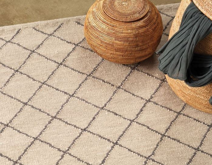 Armadillo&Co Twine Wool Weave Granite and Charcoal Rug