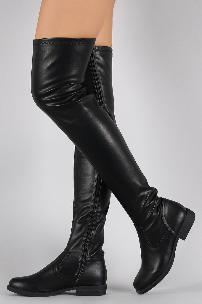 19d7bf70fef Bamboo Vegan Leather Flat Thigh High Boots – Chanty s Boutique