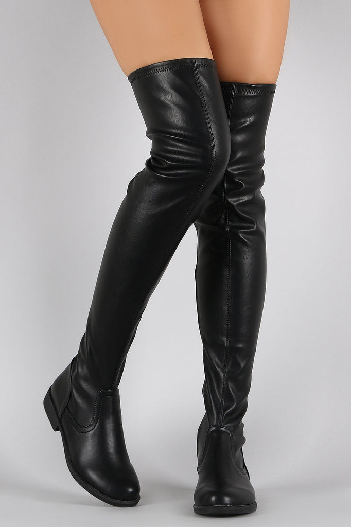 75d6a6822a4 Bamboo Vegan Leather Flat Thigh High Boots – Chanty s Boutique