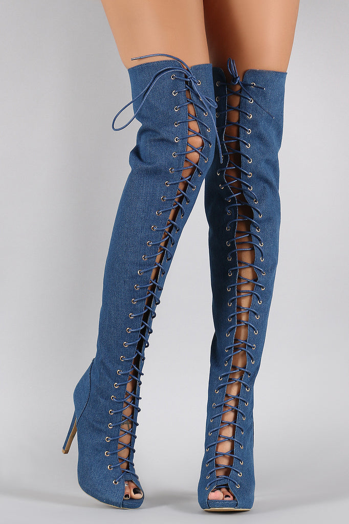 be0110027b Denim Corset Lace Up Peep Toe Stiletto Over-The-Knee Boots ...