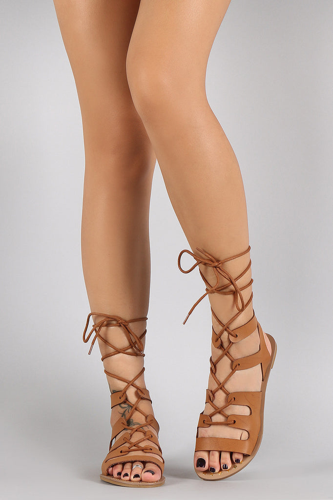 Qupid Strappy Lace Up Open Toe
