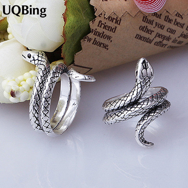 Vintage Antique Retro 925 Sterling Silver Rings For Women Jewelry Thai Silver Snake Open Rings Anel de Prata Bague en argent