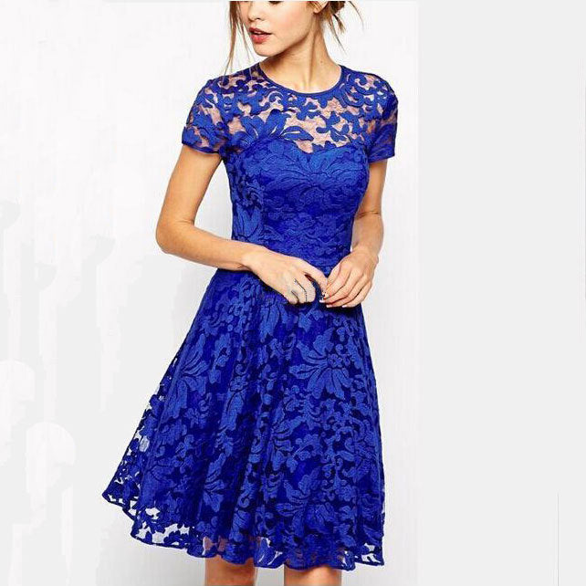 Dress Fashion Women Elegant Sweet Hallow Out Lace Dress Sexy Party Princess Slim Summer Dresses Vestidos Red Blue