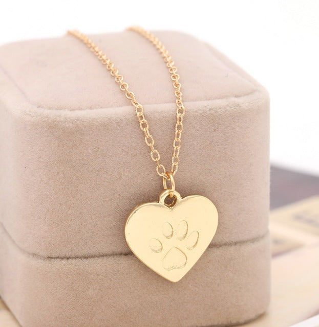 Lovers Valentine's Day Gift God of love Heart Paw Claw of Dog Kitty Cat Pendant Necklace Gold Silver Couples Jewelry Women