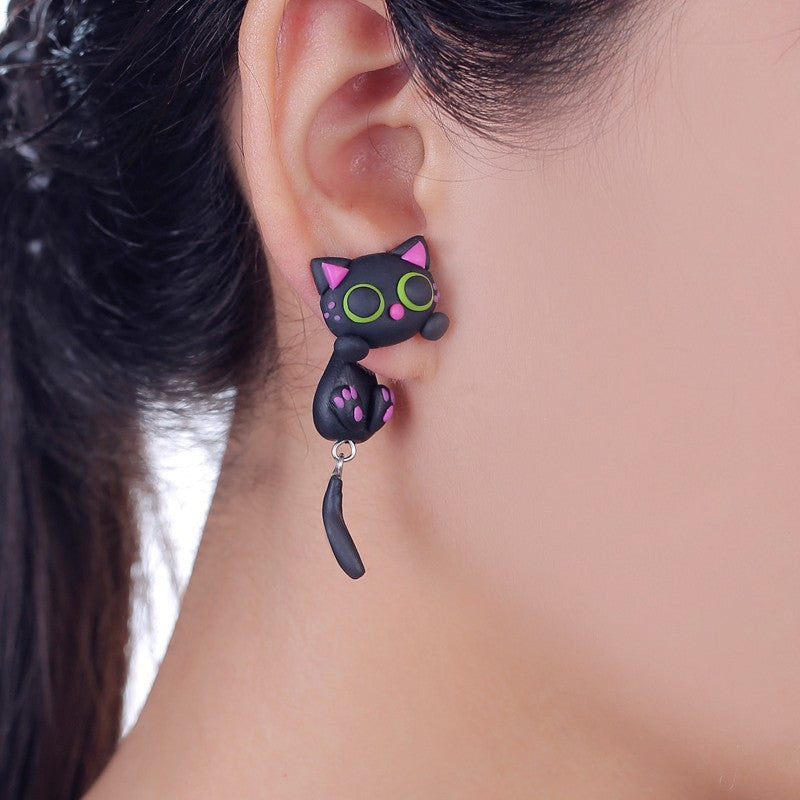 W-AOE New Design Handmade Purple Ear Cute Cat Stud Earring Fashion Jewelry Polymer Clay Cartoon 3D Animal Earrings For Women