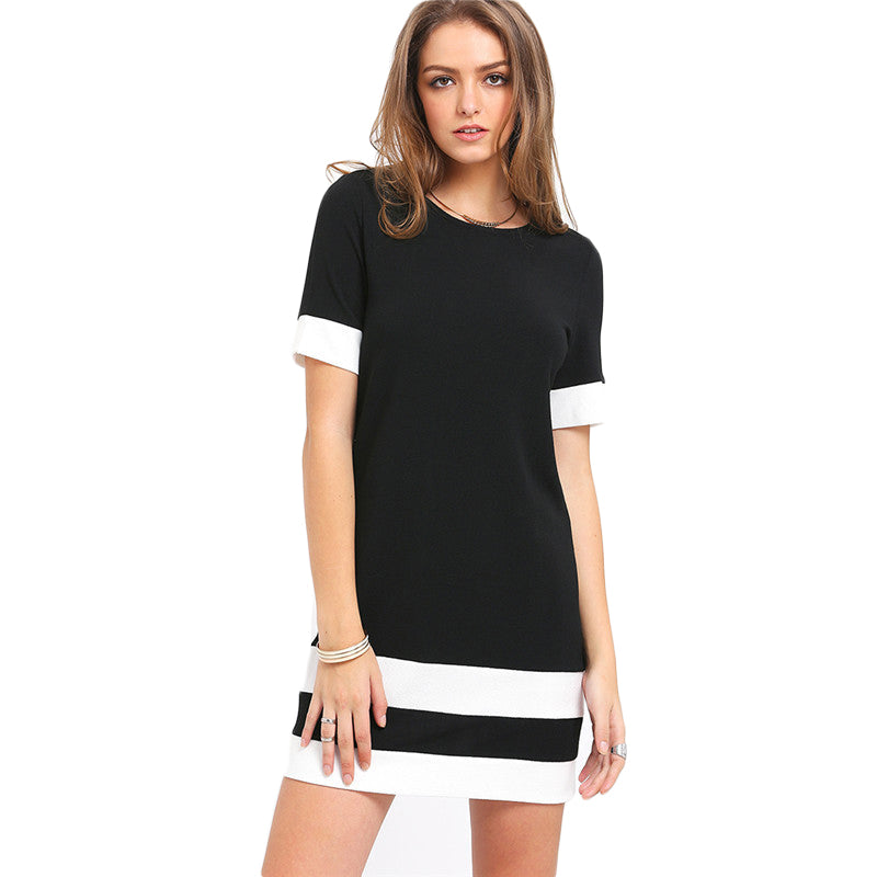 Ladies Color Block Casual Mini Dresses New Autumn Style Black White Patchwork Crew Neck Short Sleeve Shift Dress