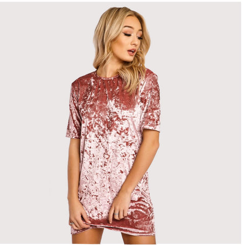 Spring Summer Pink Velvet Dress Women Short Sleeve Casual Mini Bodycon Dress Solid Color Soft Sexy Ladies Dresses