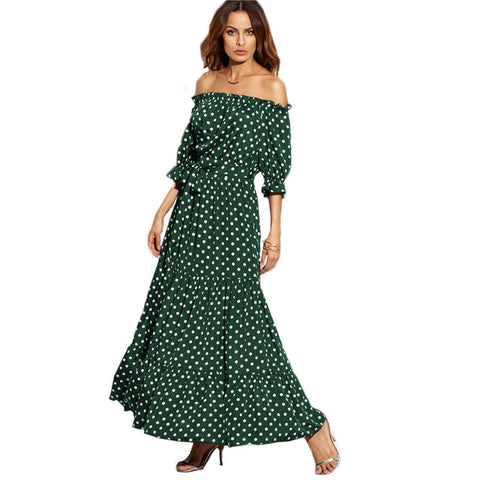 Polka Dot Bardot Neckline Tie Waist Dress Off the Shoulder Three Quarter Length Sleeve A Line Belted Maxi Dress