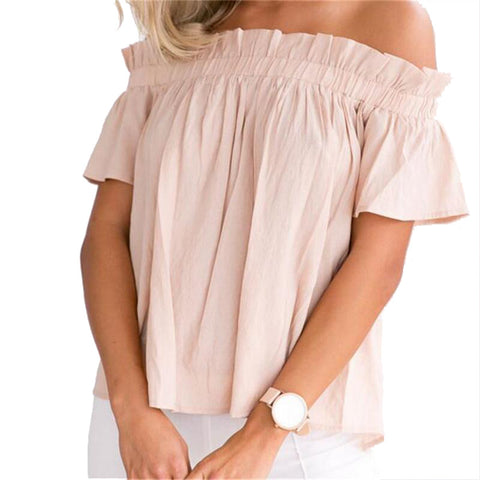 Off  the Shoulder Ruffle Women Tops