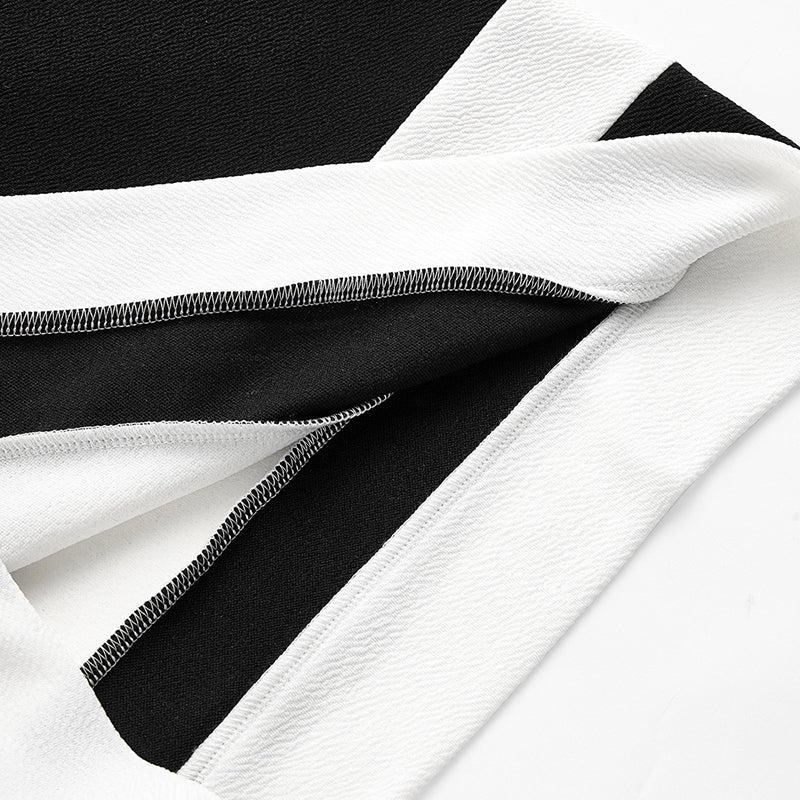 33f2bf7bba Ladies Color Block Casual Mini Dresses New Autumn Style Black White  Patchwork Crew Neck Short Sleeve Shift Dress