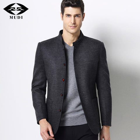 Men Cool Autumn Stand Trench Wool Jackets Male Gentlemen Jacket Business Blaser