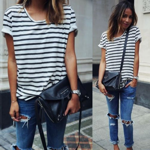Striped Womans Short Sleeve Shirt