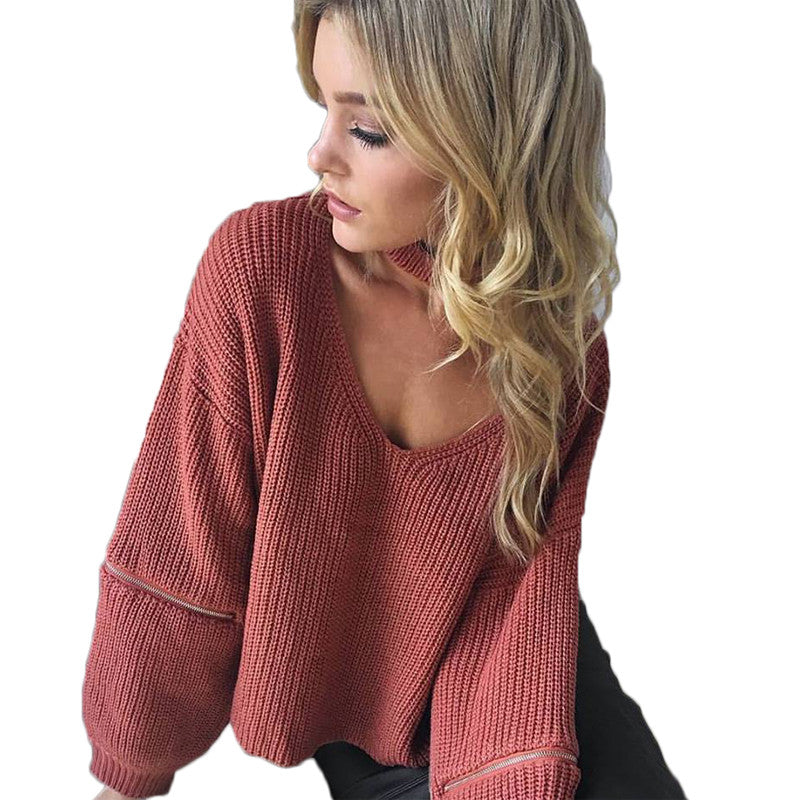 Casual V Neck Knitted Women Sweater