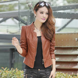 New Fashion Slim Women's Leather Jackets Stad Collar PU Leather Motor Jacket for Women