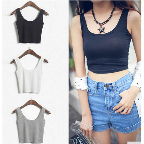 2016 Women Sexy Tight Short Sport Crop Top Sleeveless U Croptops Fitness Gym Tank Tops Femme Bustier Vest Tube Top