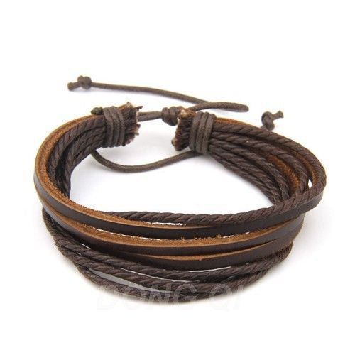Men Or Women Wrap Multilayer Genuine Leather Bracelet with Braided rope Fashion Jewelry
