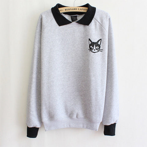 Hot Women Lapel Neck Pullover Sweatshirt Cat Printed Loose Blouse Coat