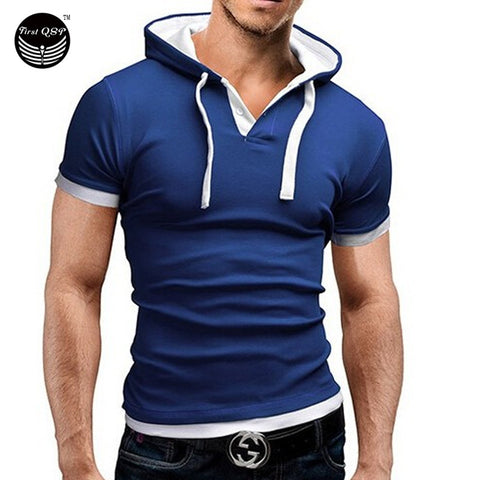 Men's T Shirt Summer Fashion Hooded Sling Short-Sleeved Tees Male Camisa Masculina Sports T-Shirt Slim Tops