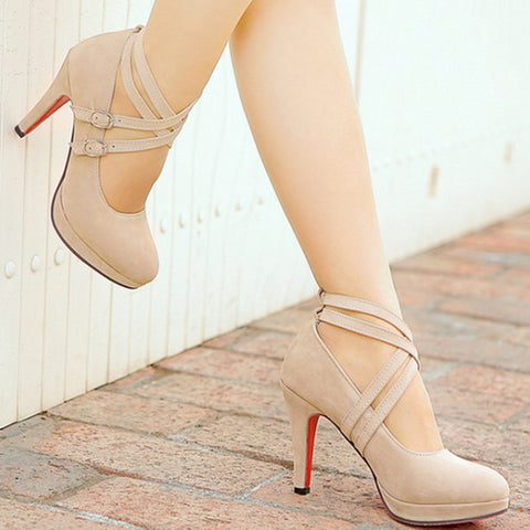 New Women Pumps Gladiator High Heels Platform Pumps Sexy Ankle Straps