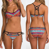 New Women Sexy Swimwear Tribal Floral Print Bikini Set Push Up Padded Swimsuit