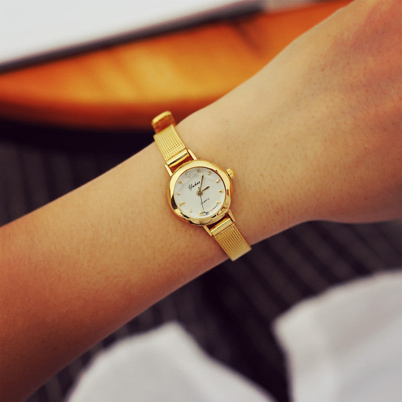 New women stainless steel gold wristwatch fashion quartz watch women dress crystal watch reloj women clock relogio