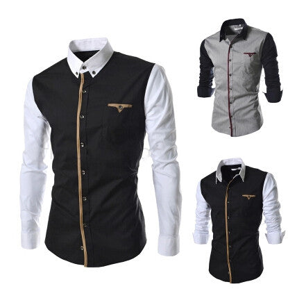 New Men's Long Sleeve Dress Shirts Patchwork Casual Slim Fit Cotton fashion Shirt