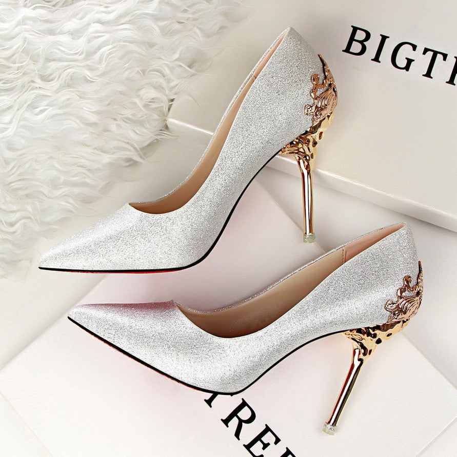 a59b7c54e71 Spring Summer Women High Heels Shoes Pointed Toe Matel Heels Pumps Fashion  Sexy Shoes Heeled Carved Metal Office Wedding Shoes