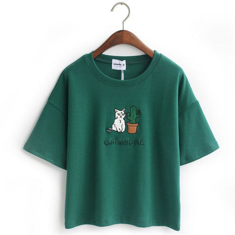 Embroidery Cat Cactus casual t shirt for Women cotton t-shirt short loose style tops hot tee