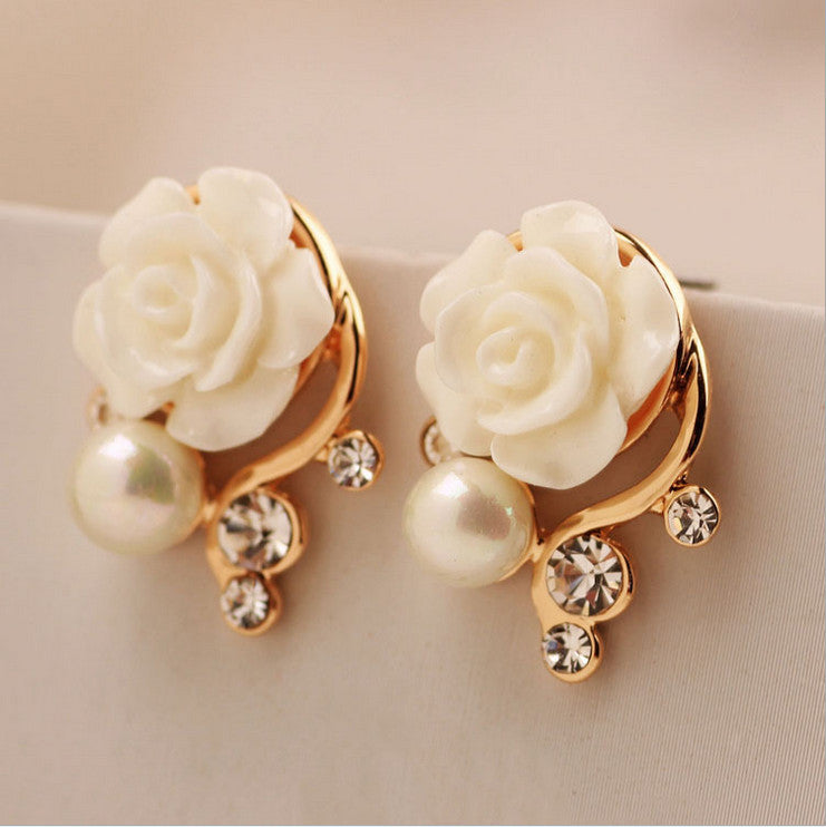 fashion jewelry new earrings for women simple crystal Imitation diamond pearl rose flower stud earring