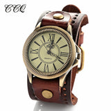 New fashion big wristwatches men women luxury brand retro style quartz watch leather strap watches W1743
