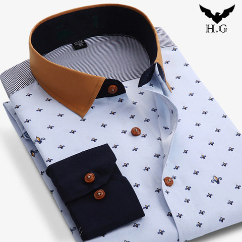 Men Polka Dot Printed Fashion Slim Long Sleeve Shirts Male Casual Polyester Business Style Man Dress Shirt Vestidos