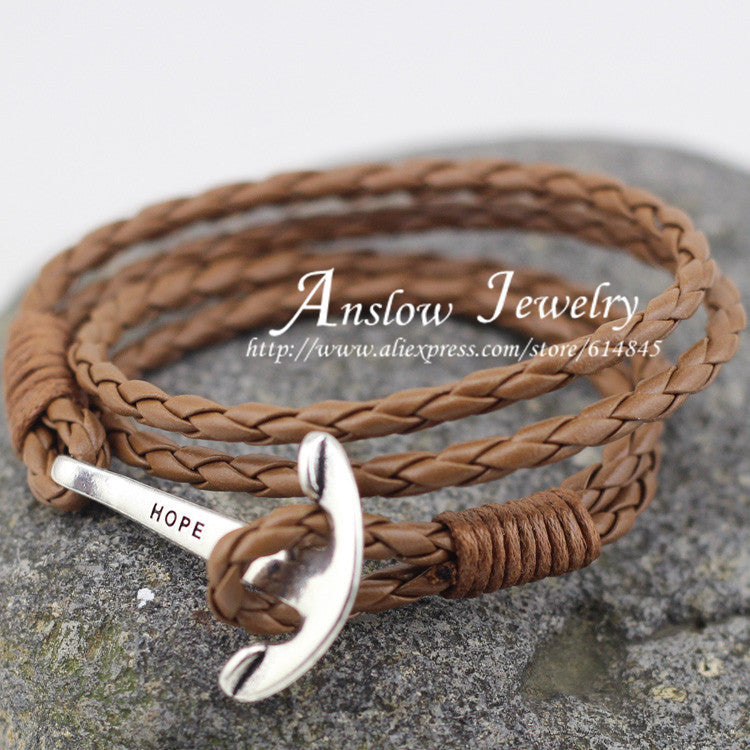 LOW0018LB 2015 New Arrival Fashion Jewelry 4mm  Leather  Bracelet Men  Anchor Bracelets For Women Best Friend Gift Free Shipping