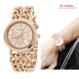 Fashion New Double Chain Gold Geneva Watches Women Luxury Famous Brand Reloj Mujer Marca De Lujo Famosas