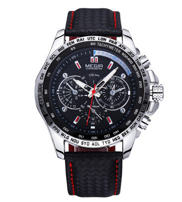 MEGIR Famous Brand Mens Watches Top Brand Luxury Business Quartz-watch  Clock Leather Strap Male Wristwatch Relogio Masculino