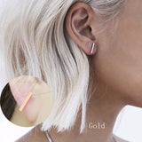 New Fashion Gold Silver Simple T Bar Earrings For Women Ear Stud Fine Jewelry