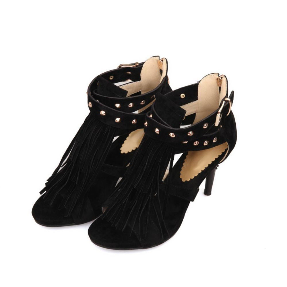 ARMOIRE New Sale Sexy Women Tassel Sandals Blue Black Purple Red Ladies High Heel Rivets Shoes