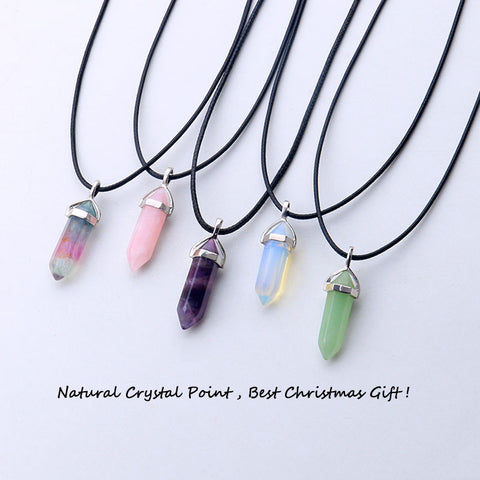 D.M. 22 colors hexagonal quartz crystal pendants for diy tattoo choker necklace genuine raw healing crystals point pingente