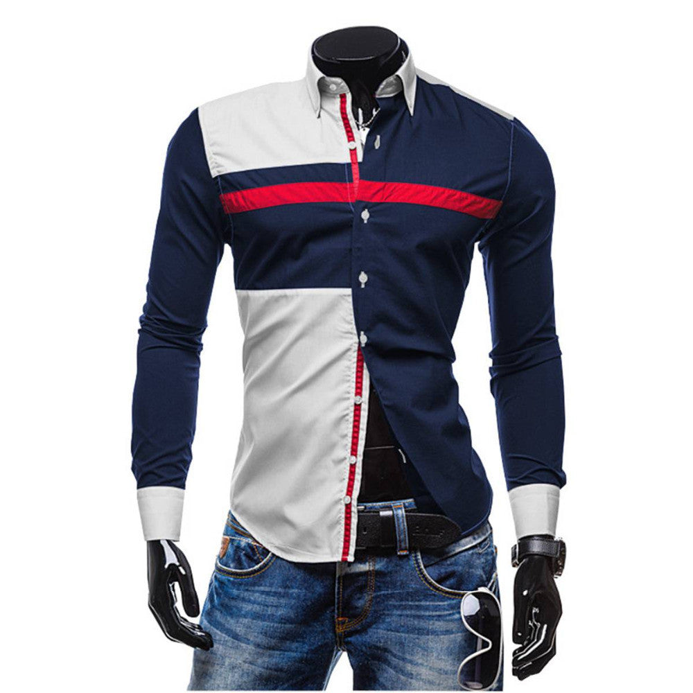 New Spring Men Stylish Hit Color Long Sleeve Slim Fit Dress Shirt Casual Male Tops Camisas High Quality