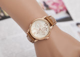 Fashion Watches Women Gold Alloy Case Ladies Watch  Leather Quartz Watch Relogio Feminino Clock Relojes Mujer