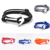 2015 14 Colors Fashion Jewelry Silver Alloy Anchor Bracelet Men Leather Risers Bracelet for Women&Men friendship bracelets