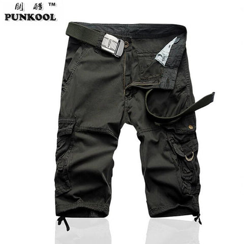 Men Summer Style  Beach Shorts Men Many Pockets  Work Wear Shorts Short Pants Male Knee Length Pure Cotton Shorts