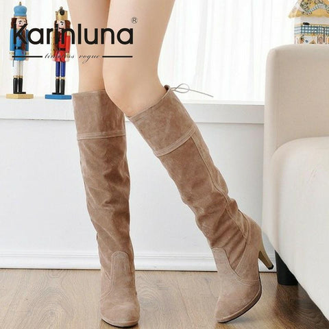 New Arrival Women Winter Shoes High Heels Knee High Boots Women Round Toe Solid Fashion Shoes For Ladies