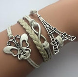 AB076 Fashion jewelry leather Double infinite multilayer bracelet factory price wholesales