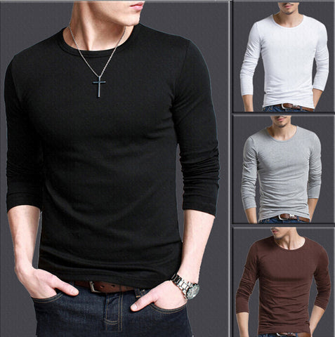 Solid color round neck T Shirts Men Long Sleeve T Shirts Cotton Gym Fitness T-Shirts Brand Solid Undershirt